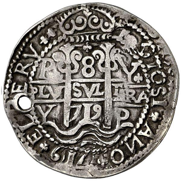 Potosi, Bolivia, cob 8 reales Royal (galano), 1719Y, rare, NGC VF details / holed.