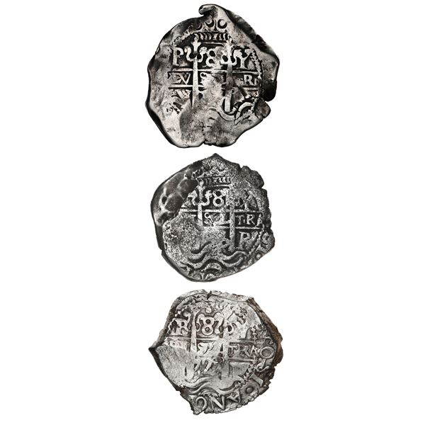 Complete date-set of Potosi, Bolivia, cob 8 reales of Louis I (assayer Y): 1725, 1726 and 1727.