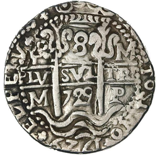 Potosi, Bolivia, cob 8 reales Royal (galano), 1729M, rare, NGC VF details / plugged.