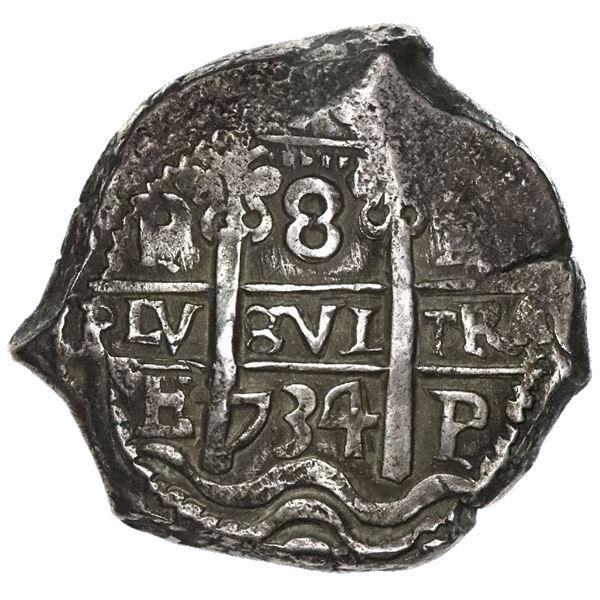 Potosi, Bolivia, cob 8 reales, 1734E.