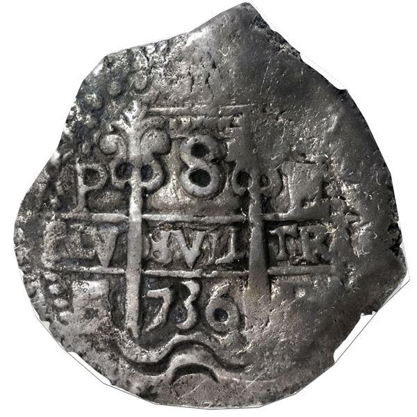 Potosi, Bolivia, cob 8 reales, 1736E, NGC VF 30.