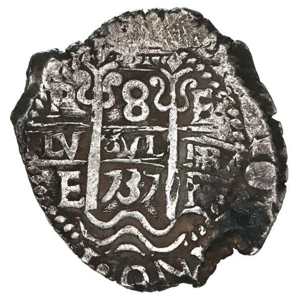 Potosi, Bolivia, cob 8 reales, 1737E.