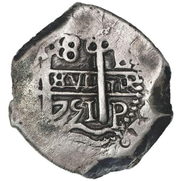 Potosi, Bolivia, cob 8 reales, 1751E.