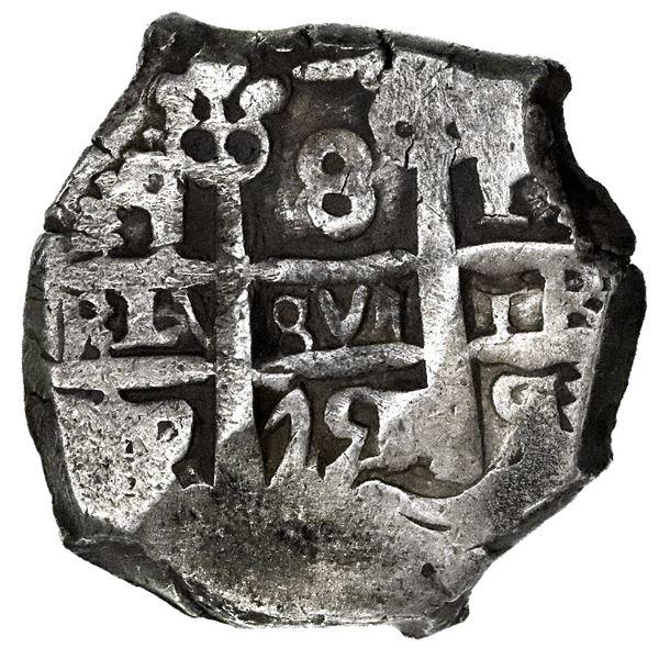 Potosi, Bolivia, cob 8 reales, 1751q, mintmark and assayer transposed on pillars side (very rare).