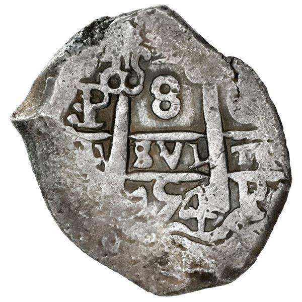 Potosi, Bolivia, cob 8 reales, 1754C.