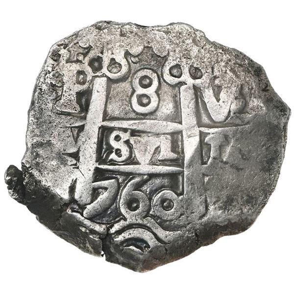 Potosi, Bolivia, cob 8 reales, 1760V-(Y).