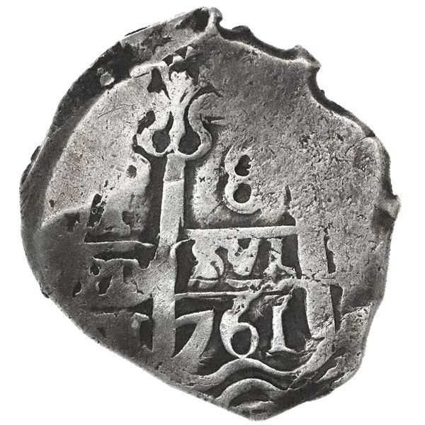 Potosi, Bolivia, cob 8 reales, 1761V-Y.