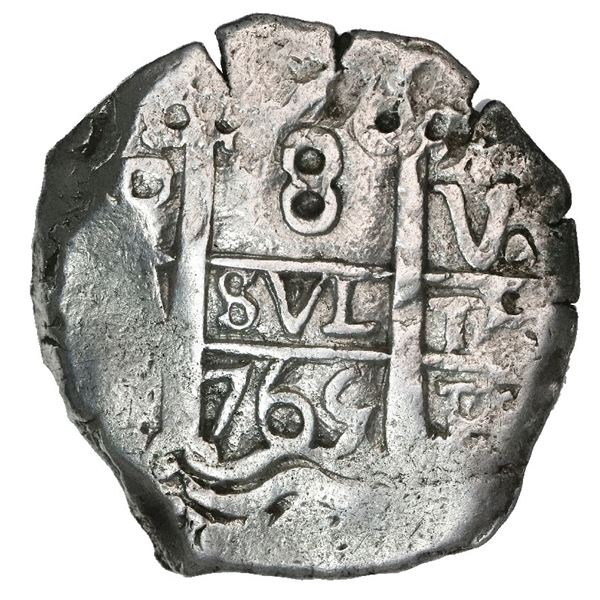 Potosi, Bolivia, cob 8 reales, 1765V-(Y).