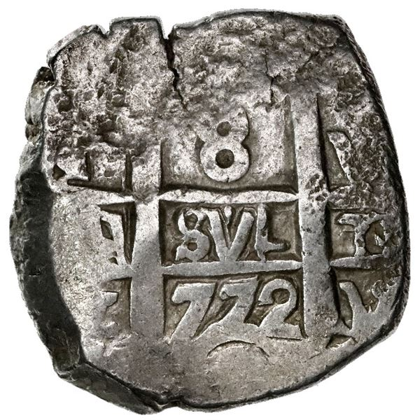 Potosi, Bolivia, cob 8 reales, 1772V-Y, assayer Y at lower right (rare).
