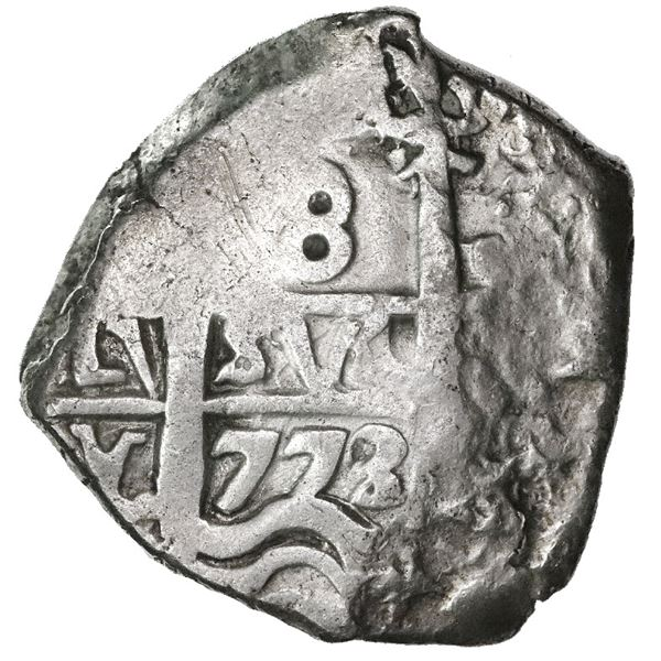 Potosi, Bolivia, cob 8 reales, 1773/2(V)-Y, rare final date of cobs.