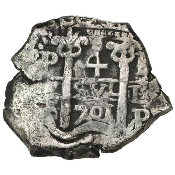 Potosi, Bolivia, cob 4 reales, 1701F, posthumous Charles II.