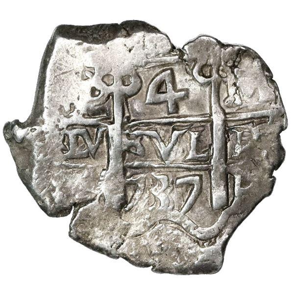 Potosi, Bolivia, cob 4 reales, 1737M/E, very rare.