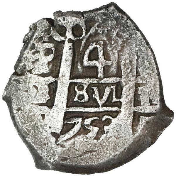 Potosi, Bolivia, cob 4 reales, 1753q.