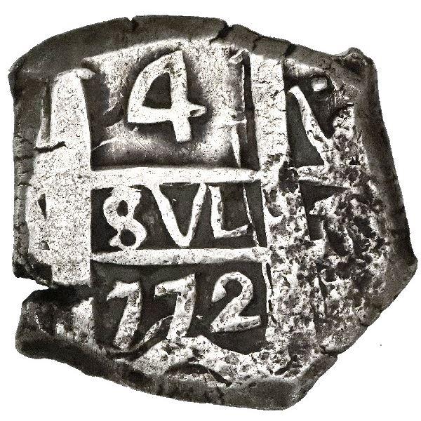 Potosi, Bolivia, cob 4 reales, 1772V-(Y).