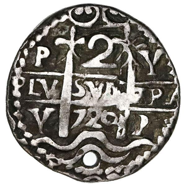 Potosi, Bolivia, cob 2 reales Royal (galano), 1720Y, very rare.