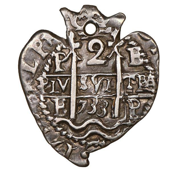 Potosi, Bolivia, cob 2 reales Heart, 1733E, unique, NGC AU 50.