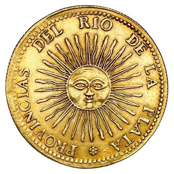 Argentina (River Plate Provinces), La Rioja mint, gold 8 escudos, 1826P, very rare, NGC AU 55