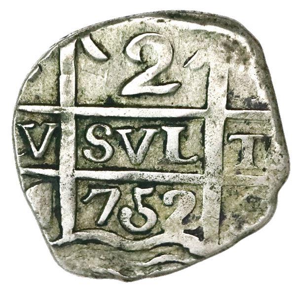 """Tucuman, Argentina, """"imitation cob"""" 2 reales, date """"752"""" (struck 1820-24), proper quadrants, oval at"""