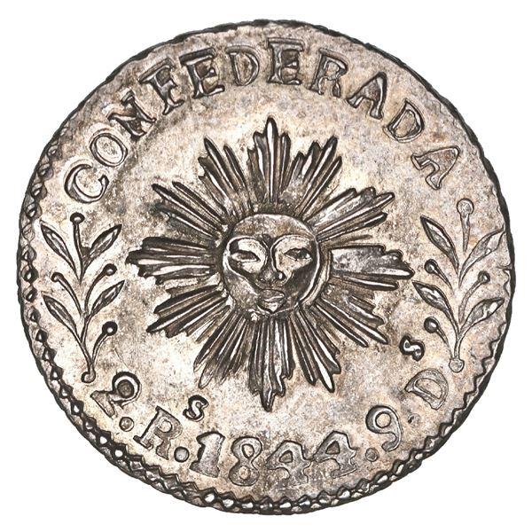 """Cordoba, Argentina, 2 reales, 1844, NGC MS 63 (""""top pop""""), ex-O'Brien."""