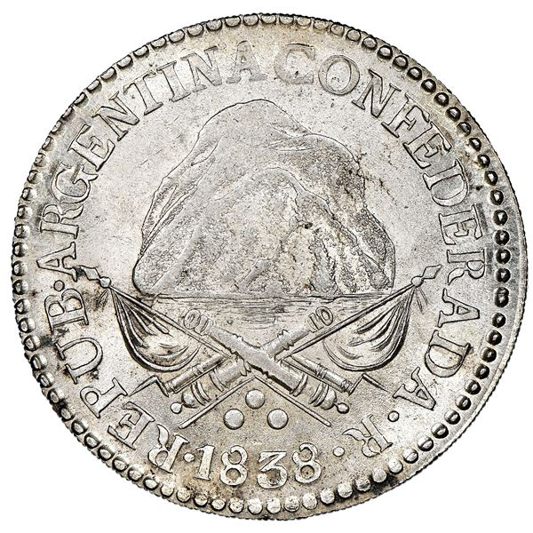 La Rioja, Argentina, 8 reales, 1838R, coin axis, NGC MS 63+.