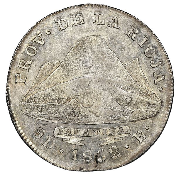 La Rioja, Argentina, 4 reales, 1852B, NGC MS 62, finest known in NGC census.