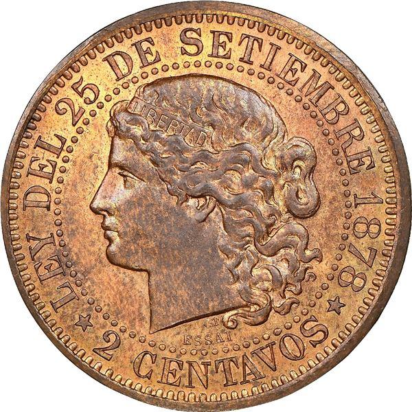 "Argentina, copper essai 2 centavos, 1878, NGC MS 65 RB (""top pop"")."