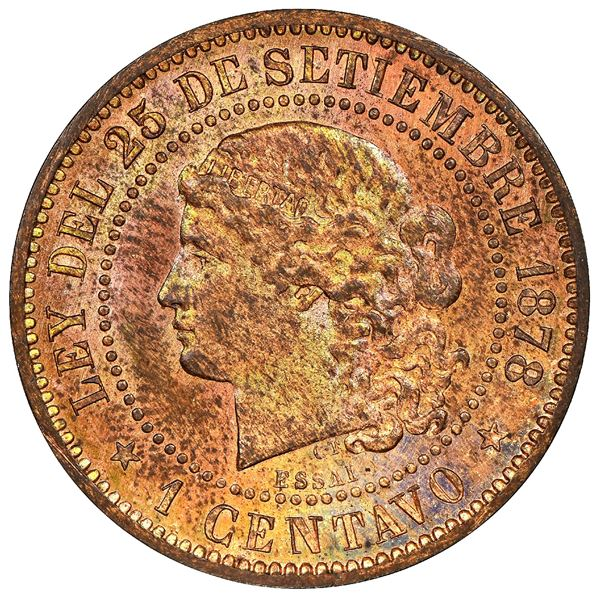 Argentina, copper essai 1 centavo, 1878, NGC MS 63 RB.