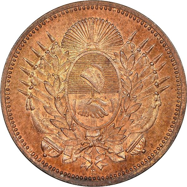 Argentina (struck in Dresden), copper pattern 1 centavo, 1880-E, NGC MS 63 RB.