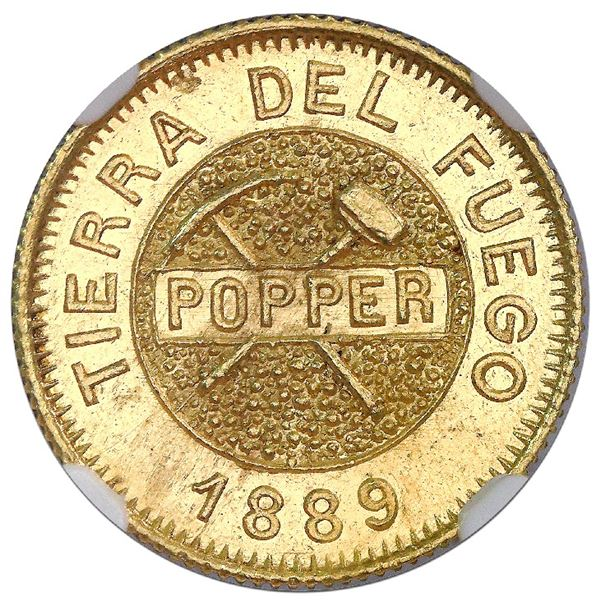 Tierra del Fuego (struck in Buenos Aires), Argentina (Popper), gold 5 gramos, 1889, NGC MS 64.