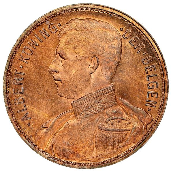 Belgium, bronze proof pattern 100 francs, 1911, Albert I, plain edge, NGC PF 66 RB, finest and only