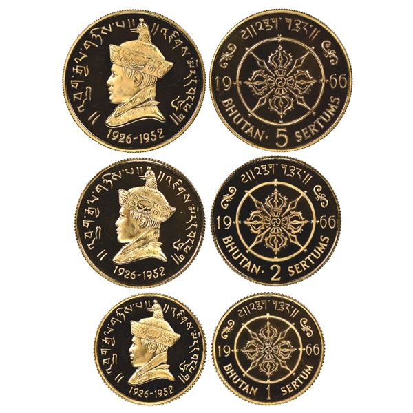 Set of three Bhutan gold proof 5, 2, and 1 sertums, 1966, Jigme Wangchuk, 40th anniversary of access