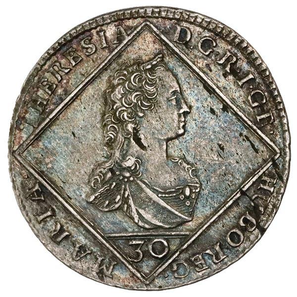 Bohemia (Prague), 30 kreuzer, 1764, Maria Theresa, NGC AU details / cleaned.