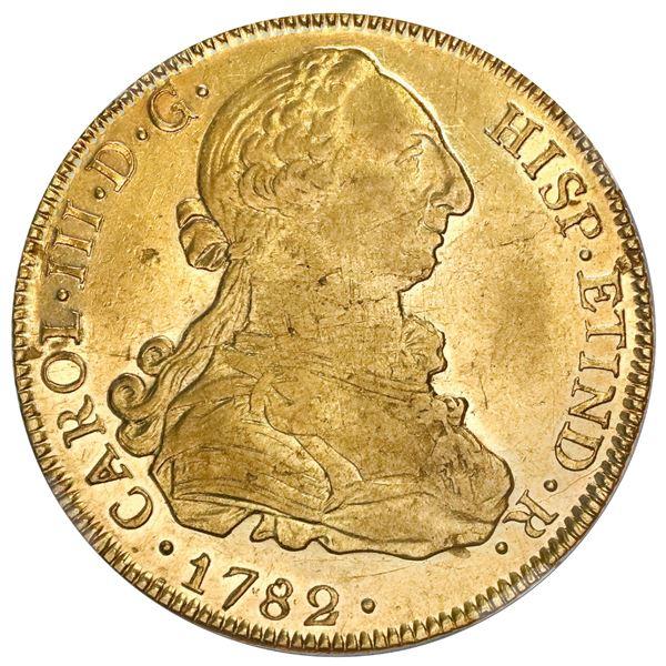 Potosi, Bolivia, gold bust 8 escudos, Charles III, 1782PR, NGC AU 50.