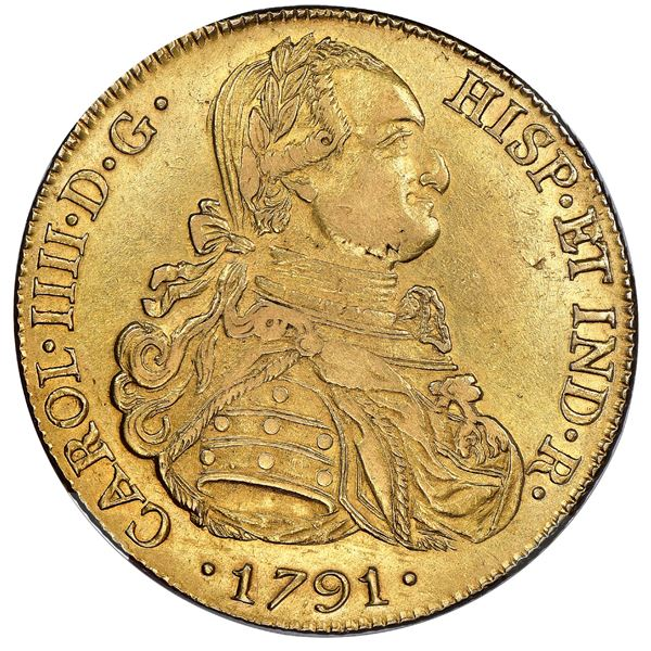 Potosi, Bolivia, gold bust 8 escudos, Charles IV (laureate bust), 1791PR, very rare one-year type, N