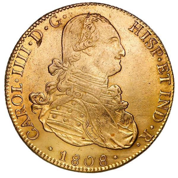 Potosi, Bolivia, gold bust 8 escudos, Charles IV, 1808PJ.
