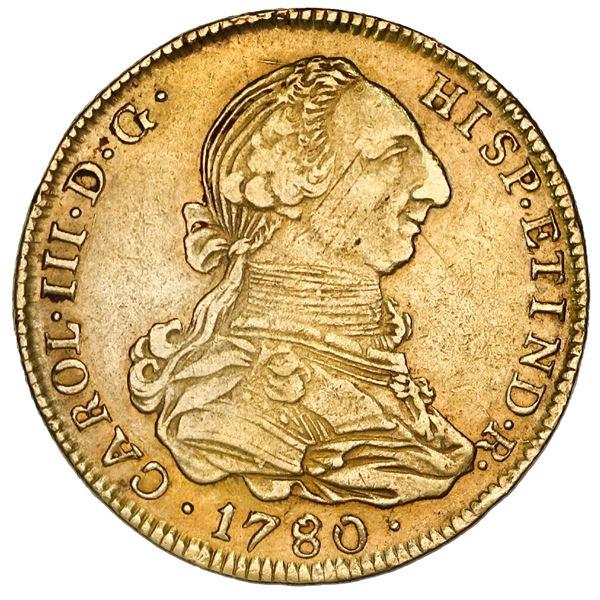 Potosi, Bolivia, gold bust 4 escudos, Charles III, 1780PR, rare.