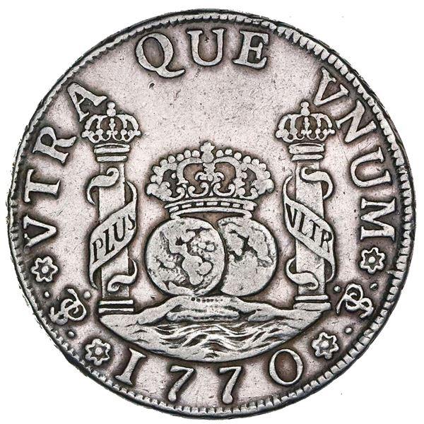 Potosi, Bolivia, pillar 4 reales, Charles III, 1770JR, three dots around each mintmark, NGC XF detai