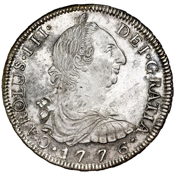 "Potosi, Bolivia, bust 8 reales, Charles III, 1776PR, NGC MS 62 (""top pop"")."