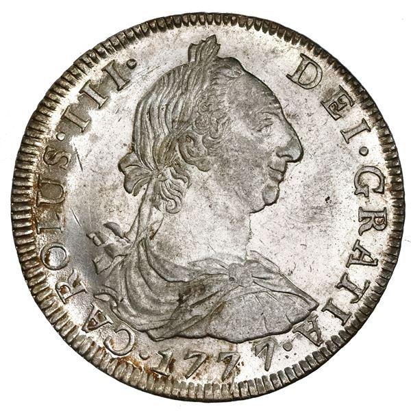 Potosi, Bolivia, bust 8 reales, Charles III, 1777PR, NGC MS 62+.