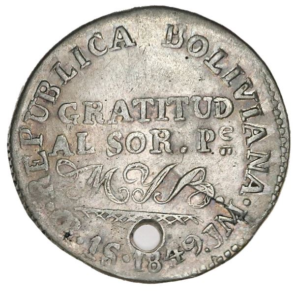 Oruro, Bolivia, 1 sol (medallic coinage), 1849JM, Belzu, coin axis (very rare, two known), ex-Whitti