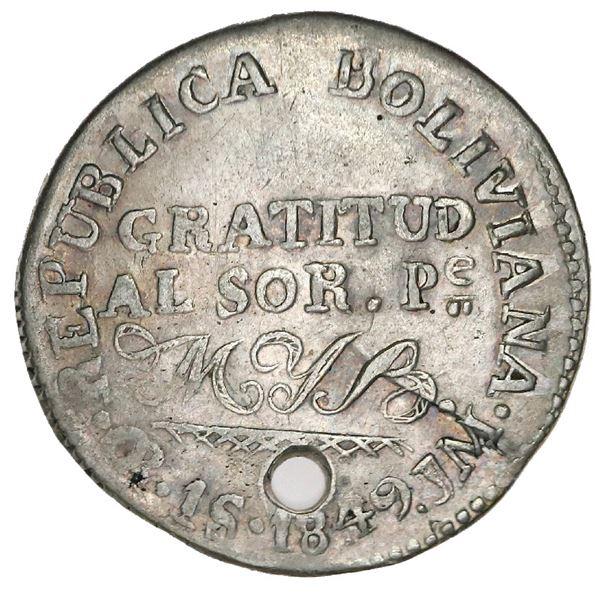 Oruro, Bolivia, 1 sol (medallic coinage), 1849JM, Belzu, coin axis (very rare, two known), ex-Whitti