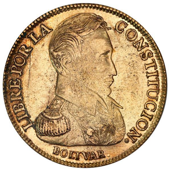 Potosi, Bolivia, gold 8 scudos, 1834LM, PCGS AU53.