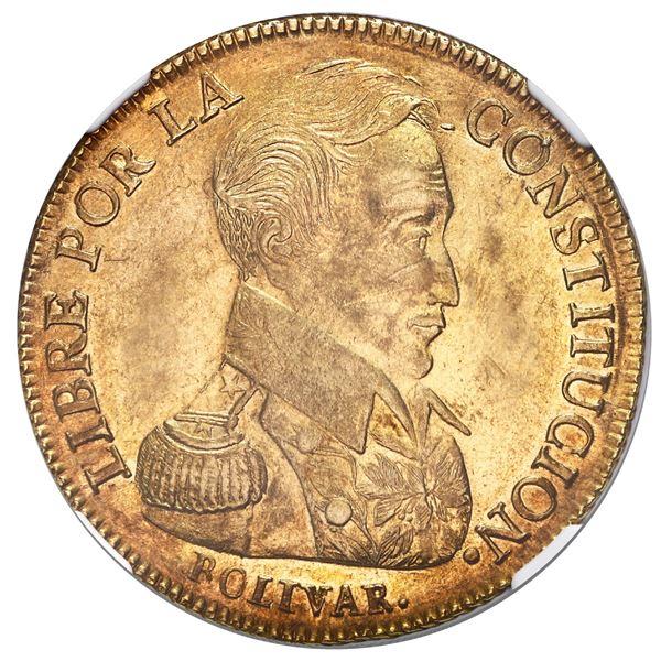 Potosi, Bolivia, gold 8 scudos, 1838LM, NGC AU 58.
