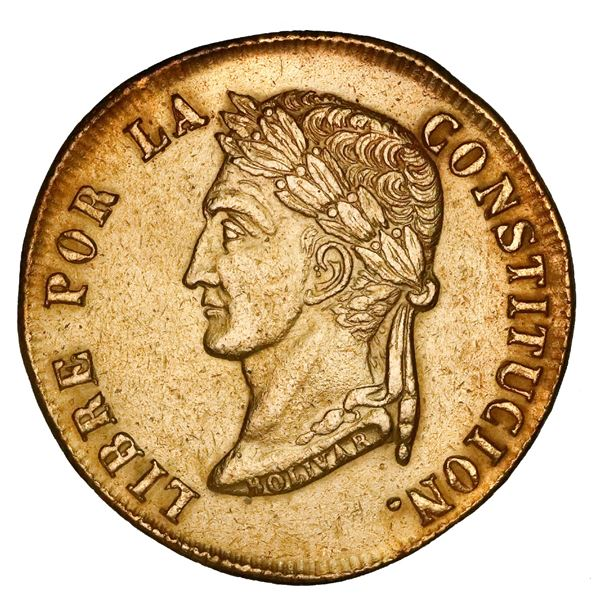 Potosi, Bolivia, gold 8 scudos, 1852FP, left-facing bust, rare.