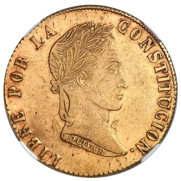 Potosi, Bolivia, gold 8 scudos, 1853/2FP, NGC XF 45.