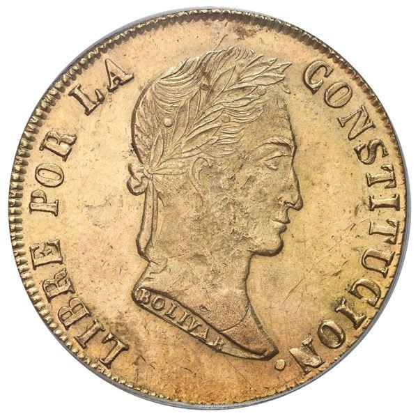 Potosi, Bolivia, gold 8 scudos, 1856FJ/MJ, PCGS MS61.