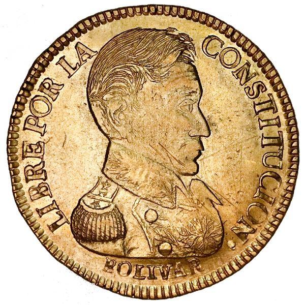 Potosi, Bolivia, gold 4 scudos, 1834LM, rare.