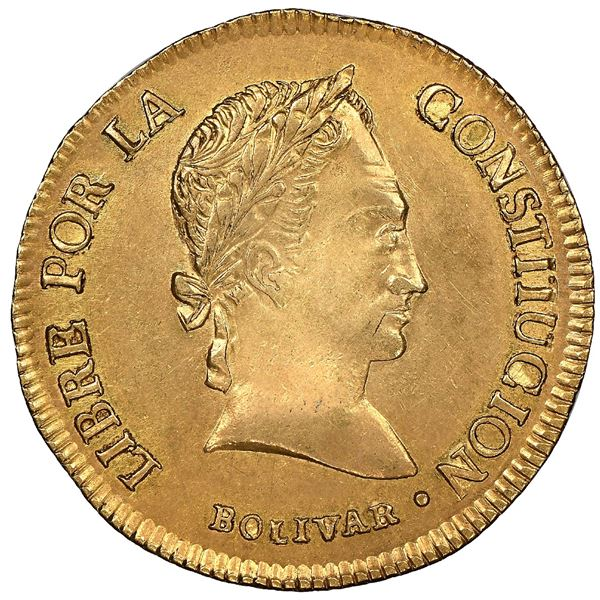 Potosi, Bolivia, gold 4 scudos, 1841LR, rare, NGC MS 62, finest known in NGC census.