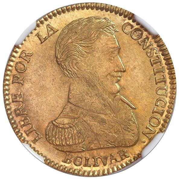 Potosi, Bolivia, gold 2 scudos, 1834LM, rare, NGC MS 63, ex-Newman.