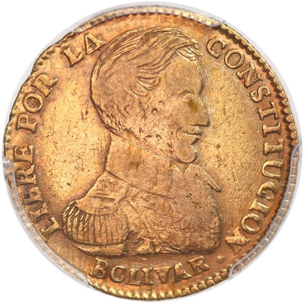Potosi, Bolivia, gold 2 scudos, 1835LM, rare, PCGS VF20.